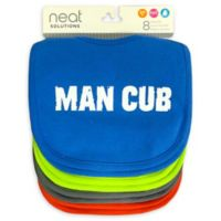 Neat Solutions 8-Pack Man Cub Infant Bib Set with Water-Resistant Lining