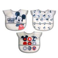 Disney 3-Pack Mickey Mouse Multi-Layer Translucent Toddler Bib Set