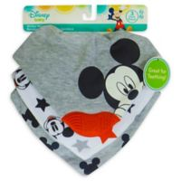 Neat Solutions 3-Pack Mickey Mouse Scarf Bibs with Teether in Heather Grey
