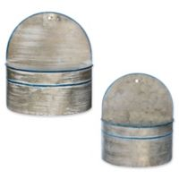 Galvanized Pail-Style Wall Planters (Set of 2)