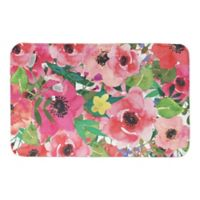 """Designs Direct Bright Floral 21"""" x 34"""" Bath Mat in Pink"""