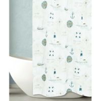Bacova Seas the Day Shower Curtain in Off White/Blue