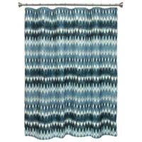 Terra Geometric Shower Curtain in Navy