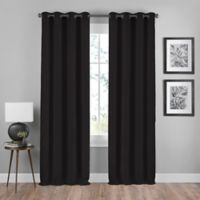 Shauna 108-Inch Grommet Window Curtain Panel in Black