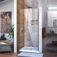 DreamLine Unidoor 29-30-Inch Frameless Hinged Shower Door with Clear Glass in Brushed Nickel