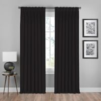 Shauna 84-Inch Pinch Pleat Back Tab Room Darkening Window Curtain Panel in Black