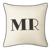 """Edie @ Home """"Mr."""" Square Throw Pillow in Oyster/Black"""