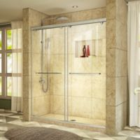 "DreamLine Charisma 56-60"" W x 76"" H Frameless Bypass Sliding Shower Door in Brushed Nickel"