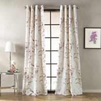 Botanical Print 108-Inch Grommet Window Curtain Panel in Berry