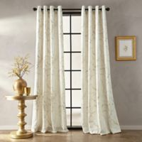 Botanical Print 95-Inch Grommet Window Curtain Panel in Butter