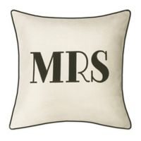 "Edie ""Mrs."" Square Throw Pillow in Oyster/Black"
