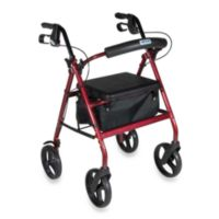 Drive Medical Four-Wheeled Rollator w/8-Inch Wheels in Red