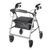 Drive Medical Four-Wheeled Rollator w/6-Inch Wheels in Silver