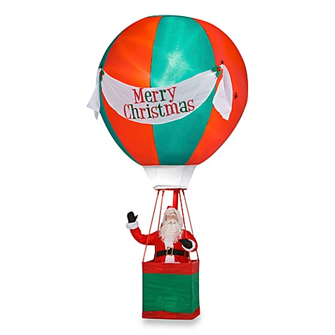 Inflatable Outdoor 15-Foot Santa Hot Air Balloon with Merry Christmas Banner