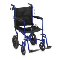 Drive Medical Lightweight Expedition Aluminum Transport Chair in Blue