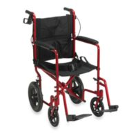 Drive Medical Lightweight Expedition Aluminum Transport Chair in Red