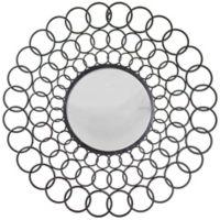Concave Sunburst 33.25-Inch Round Wall Mirror in Grey