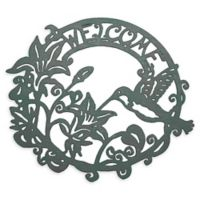 Lavish Home Ornate Welcome Cutout Metal Sign in Dark Verdigris