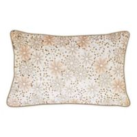 Edie @ Home Floral Beaded Oblong Throw Pillow in Oyster/Pink