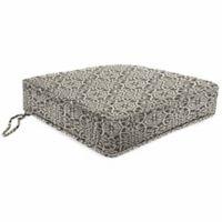 Print Tapered Boxed Edge Seat Cushion in Sunbrella® Ayathena Pewter