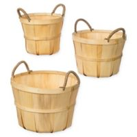 Woven Wooden Market Baskets in Natural (Set of 2)