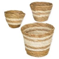 Striped Woven Straw Grass Baskets (Set of 3)