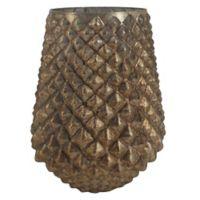 A&B Home Stumpy Textured Mercury Glass Vase in Copper