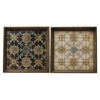 A&B Home 2-Piece 20-Inch x 20-Inch Tray Set in Brown