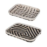 A&B Home 2-Piece Organic Elements Geometric Wash Tray Set in Black/White