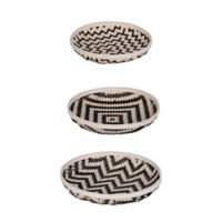 A&B Home 3-Piece Organic Elements Geometric Wash Tray Set in Black/White