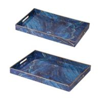 A&B Home 2-Piece Marbleized Rectangular Tray Set in Blue