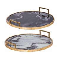 A&B Home 2-Piece Decorative Tray Set in Gold