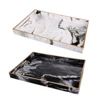 A&B Home 2-Piece Quinn Rectangular Tray Set in Black/White
