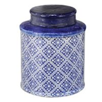 A&B Home Small Lidded Jar in White