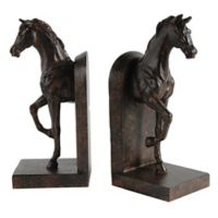 A&B Home 2-Piece Trotting Horse Bookend Set in Bronze