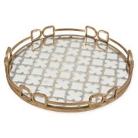 A&B Home Valentina Round Mirrored Tray in Gold