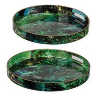 A&B Home 2-Piece Marbleized Decorative Tray Set in Green
