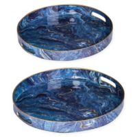 A&B Home 2-Piece Marbleized Decorative Tray Set in Blue