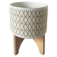 Sagebrook Home™ Diamonds Ceramic Planter Pot on Wood Stand in White/Beige