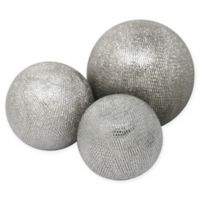 Sagebrook Home Decorative Ceramic Orbs in Silver (Set of 3)