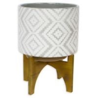 Sagebrook Home 14.5-Inch Patterned Ceramic Planter in Grey/White on Stand