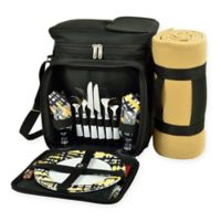 Picnic At Ascot™ Hamptons Picnic Cooler with Service For 2 and Blanket in Black/Yellow