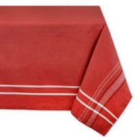 Design Imports French Stripe 52-Inch Square Tablecloth in Tango Red