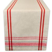 Design Imports French Stripe 72-Inch Table Runner in Tango Red