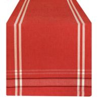 Design Imports French Stripe 108-Inch Table Runner in Red Stripe