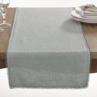 Saro Lifestyle Pompom 72-Inch Table Runner in Blue/Grey