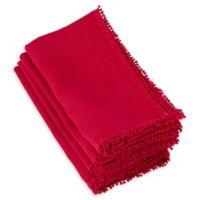 Saro Lifestyle Pompom Napkins in Red (Set of 4)