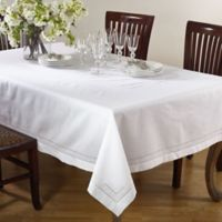 Saro Lifestyle Swiss Dot 65-Inch x 104-Inch Oblong Tablecloth in White