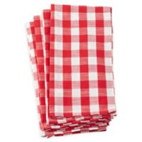 Saro Lifestyle Gingham Kitchen Towels in Red (Set of 4)