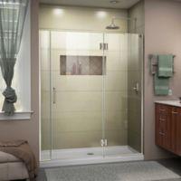 DreamLine Unidoor-X 58-58.5-Inch Frameless Hinged Shower Door in Brushed Nickel